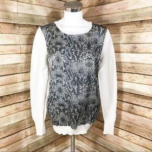 Harve Bernard white snakeskin long sleeve blouse